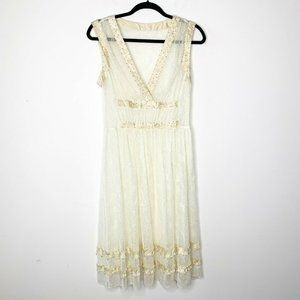 Vtg Beaded Lace Sheer Overlay Embroidered Dress